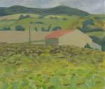 Zonnebloemen, Escueillens, 2010, acryl op papier,40x37 cm