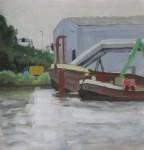Amstel, Noord-zuidlijn boten, 42x42cm, acrylic on paper, 2011
