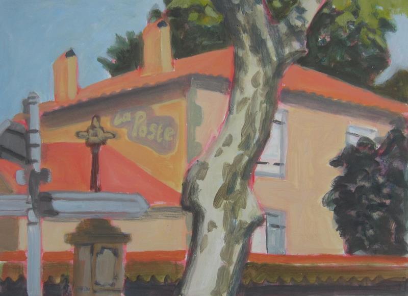 La Poste, Escueillens, 2010, acryl op papier, 58x43 cm